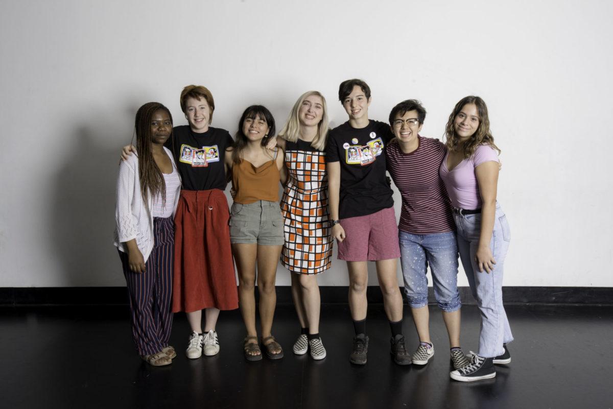 Winners L to R: Nchangwi-M. Che (Theatre), Ruby Devoe (Creative Writing), Marla Cervantes (Visual Art), Madeline Ernst (Music), Maite Orpustan (Animation), Sedona Cruz (Film), Maretzys Gandara (Dance)