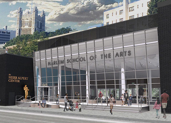 A rendering of the Harlem School of the Arts' glass facade, which will replace the existing brick exterior. Credit Imrey Studio LLC